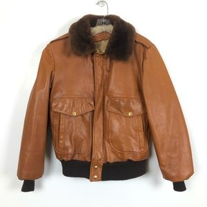 William Berry Vintage G-1 Leather Shearling Bomber